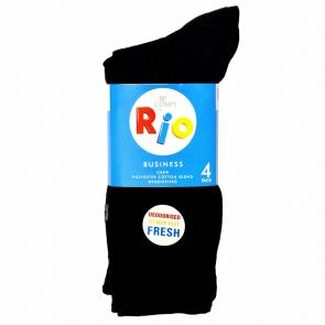 Rio Deodorised Business Crew Socks 4 Pack S7294W Black