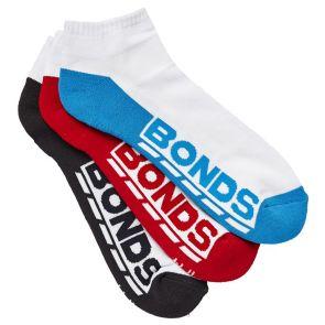 Bonds Mens Logo Low Cut Sport Sock 3PK S8220N Assorted 1