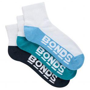 Bonds Mens Logo Quarter Crew 3 Pack S8221N Multi