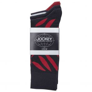 Jockey Pattern Crew 3 Pack SYMC3N Navy/Red