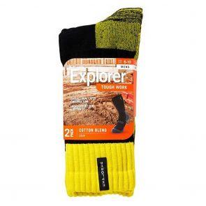 Explorer Mens Tough Work Crew Socks 2 Pack SYNJ2W Black/Yellow