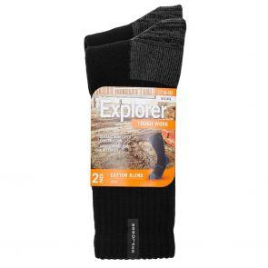 Explorer Mens Tough Work Socks 2-Pack SYNJ2N Black