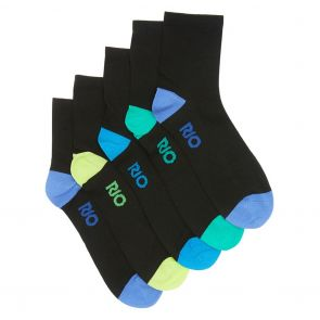 Rio Active Quarter Crew Sock 5-Pack SZE15G Black