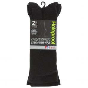Holeproof Comfort Top Circulation 2 Pack Socks SZTJ2G Black