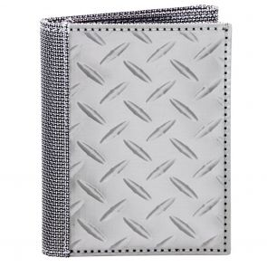 Stewart Stand TriFold ID Stainless Steel Wallet TF3701 Silver Diamond Plate