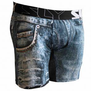 Sly Underwear Mens Boxer Briefs BUPTDM Torn Blue Denim