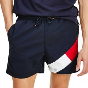 Tommy Hilfiger Colour-Blocked Slim Fit Mid Length Swim Shorts UM0UM02048 Navy