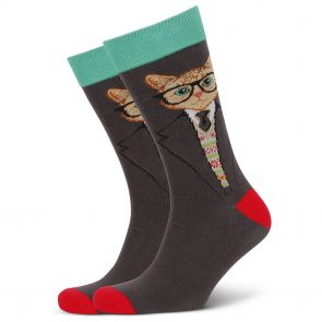Mitch Dowd Dapper Cat Jacquard Crew Socks XMDM811 Multi