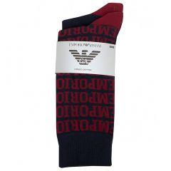 Emporio Armani Knit Crew Socks 2 Pack 302302 6A284 Navy Mens Socks