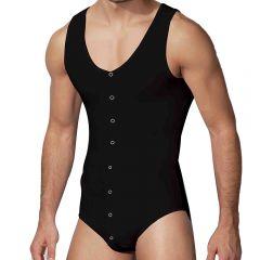 Doreanse Button Down Bodysuit 5001 Black Mens Underwear