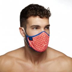 Addicted Red Stars Face Mask AC109 Royal Blue Trim