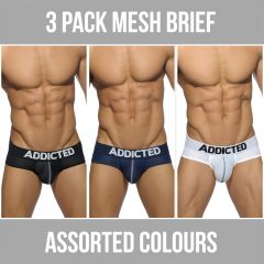 Addicted 3 Pack Mesh Brief Push Up AD475P Assorted Mens Underwear