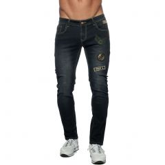 Addicted Patches Jeans AD749 Black Mens Pants