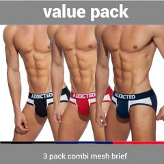 Addicted Combi Mesh 3 Pack Brief AD845P Black/Navy/Red Mens Underwear