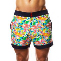 Hey Franky Circuit Beach Shorts Geometric HF017S Multi Mens Shorts