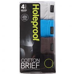 Holeproof Cotton Interlock Brief 4-Pack M16744 Blk/Brn/Blu/Gry