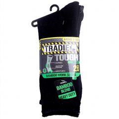 Tradie Mens 2PK Bamboo Sock M22559BW Black Mens Socks