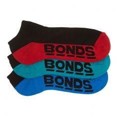 Bonds Mens Logo Low Cut Sock 3-Pack S822DX Assorted Mens Socks
