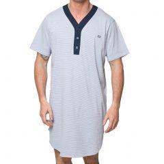 Coast Short Sleeve Stripe Nightshirt 18CCS320 Navy and Grey Mens Sleepwear