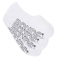 Bonds Mens Logo Light Sneaker Socks 4-Pack SYAM4N White Mens Socks