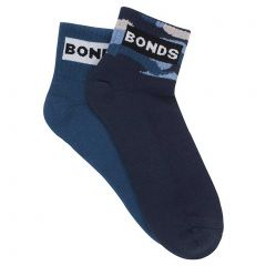 Bonds Mens Street Quarter Crew Socks 2 Pack SYFU2N Multi Mens Socks
