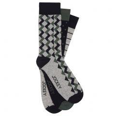 Jockey Pattern Crew 3-Pack SYMC3N Assorted Mens Socks