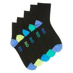 Rio Active Quarter Crew Sock 5-Pack SZE15G Black Mens Socks