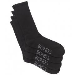 Bonds Mens Very Comfy Crew 2PK SZFP2N Black Mens Socks