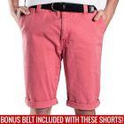 Mossimo David Chino Shorts with Free Belt 0M5199 Cardinal Mens Pants
