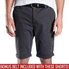 Mossimo David Chino Shorts with Free Belt 0M5199 Phantom Mens Pants