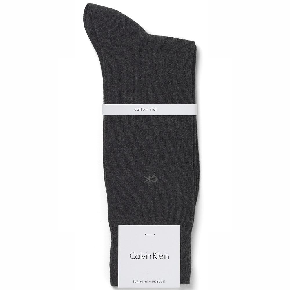 Calvin Klein Liam Cotton Flat Knit Dress Socks ECB212 Graphite