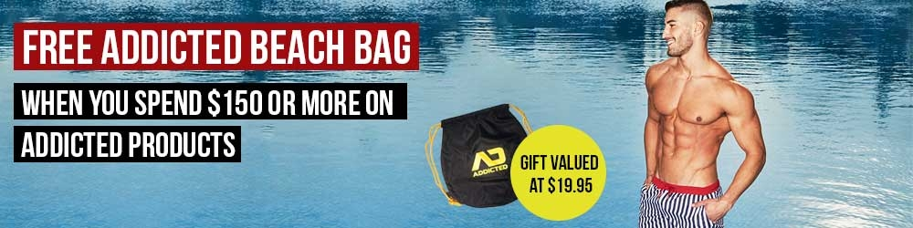 Spend $150 or more on ADDICTED gear and get a free Beach Bag!