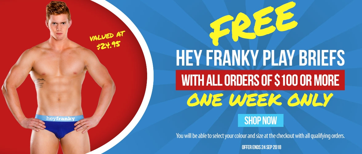Free Hey Franky Play Briefs with Orders of $100 or more