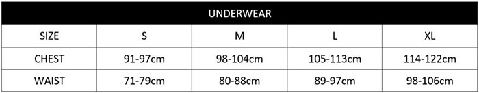 CK Underwear Sizechart