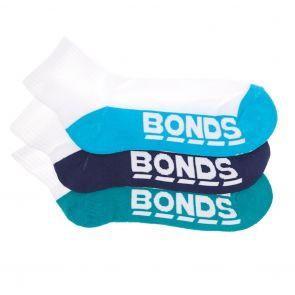 Bonds Mens Logo Quarter Crew Sock 3-Pack S822D3 Assorted