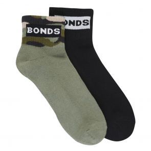 Bonds Mens Street Quarter Crew Socks 2 Pack SYFU2N Multi